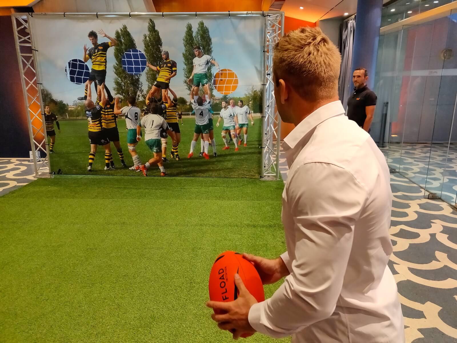 Bâcge à trous précision précifoot rugby concours fun challenge défi points olympiade