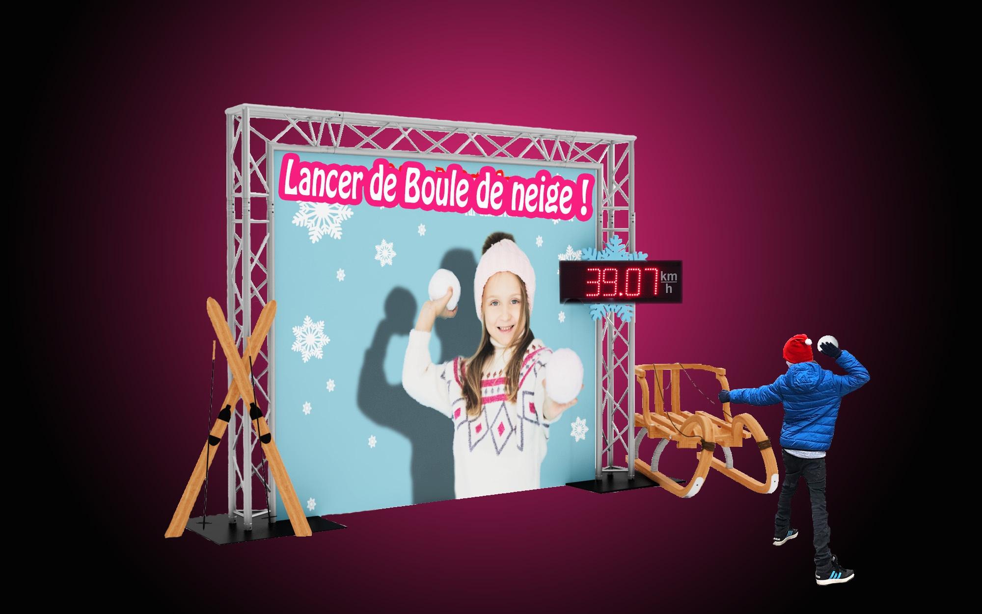 Animation hiver Noël, le lancer de Boule de neige mesuré par radar et structure
